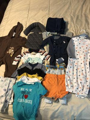 0-12 month boy clothes, bath seat, towels etc for Sale in Goodyear, AZ