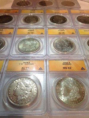 One Rare ANACS Graded AU Uncirculated or Mint State 1878-1921 TOP Quality Morgan Silver Dollar- Professionally Graded & Certified High Grade Coin for Sale in Reston, VA