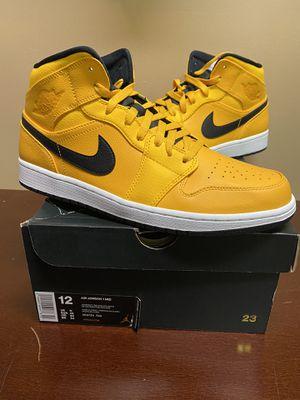 Nike Air Jordan 1 Mid University Gold Taxi Yellow Black 554724-700 Men's Size 12 for Sale in Mechanicsburg, PA