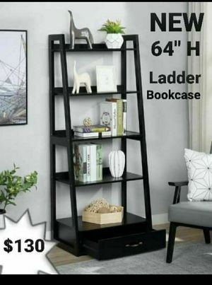 "64"" Black Wood 5-shelf Ladder Bookcase with Drawer for Sale in Los Angeles, CA"