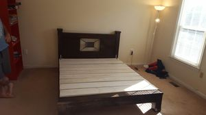 Solid wood queen bed with mattress for Sale in Rockville, MD