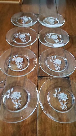 Set of 8 Antique Glass Flower Dessert Plates for Sale in Third Lake, IL