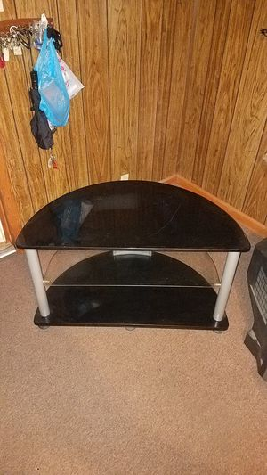 "Black half moon with adjustable glass middle shelf T.V. Stand 22"" Tall x 40"" Wide x 21"" Deep for Sale in Kannapolis, NC"