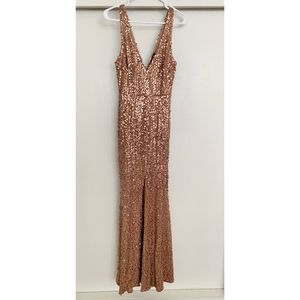 NWT rose gold mermaid maxi dress M for Sale in West Covina, CA