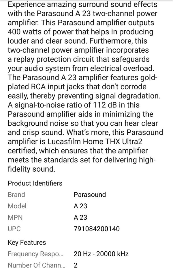 Parasound Halo A23 Amplifier