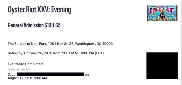 2 x Oyster Riot XXV - Evening tickets