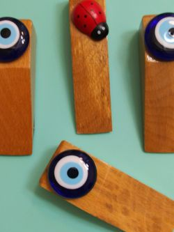 🧿 SET OF 3 WOOD & GLASS EVIL EYE PROTECTION DOOR HOLDER ( SET FOR $6 ) for Sale in Bothell,  WA