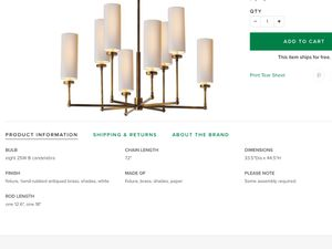 Visual comfort Ziyi chandelier. Brand new in the box. Antique brass for Sale in Sterling, VA
