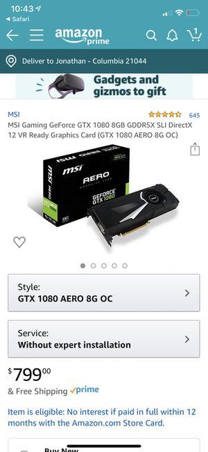 NVIDIA GTX 1080 aero 8gbs for Sale in Columbia, MD
