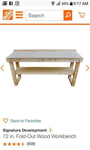 72 inch Wooden Workbench for Sale in Anchorage, AK