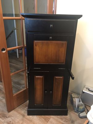 Black and wood small desk storage for Sale in St. Louis, MO