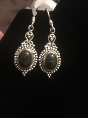 Black turquoise & sterling silver earrings for Sale in West Richland, WA