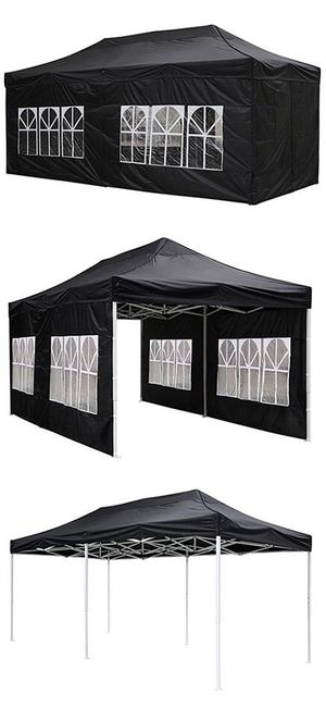 Brand New $190 Heavy-Duty 10x20 Ft Outdoor Ez Pop Up Party Tent Patio Canopy w/Bag & 6 Sidewalls, Black for Sale in Downey, CA