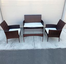 """$190 (new in box) small outdoor patio set 4 pcs wicker rattan furniture seat sizes (37x19"""", 19x19"""") assembly required for Sale in Santa Fe Springs,  CA"""