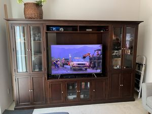 Entertainment center/TV stand/shelving unit wood excellent condition for Sale in Santa Ana, CA