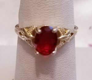 Vintage Ruby and 925 sterling silver ring, size 7 for Sale in Hampden, ME