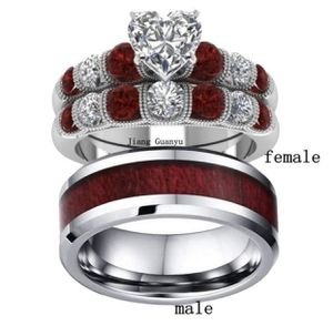 2 Rings Couple Rings Tungsten steel Men's Band Silver White Gold Filled Heart Zircon Garnet Women's Wedding Ring Sets.(women size 8 men size 10) for Sale in Moreno Valley, CA