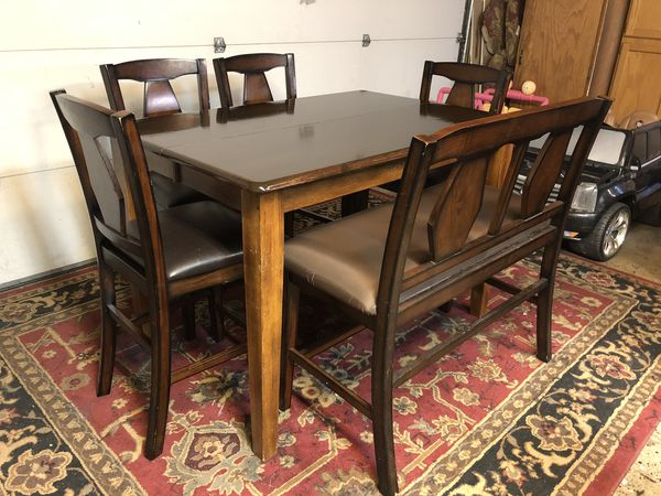 Bar Height Table, Bench, and 4 Chairs