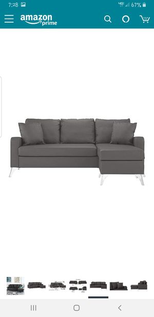 DIVANO ROMA FURNITURE Bonded Leather Sectional Sofa - Small Space Configurable Couch (Black) for Sale in Seattle, WA