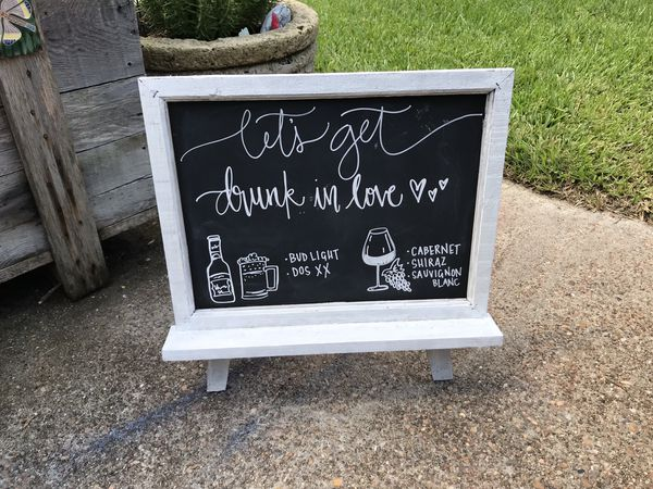 Chalkboard with stand - wedding decor. Pick up only