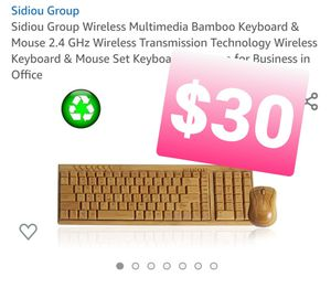 Sidiou Group Wireless Multimedia Bamboo Keyboard & Mouse, teclado for Sale in Pomona, CA