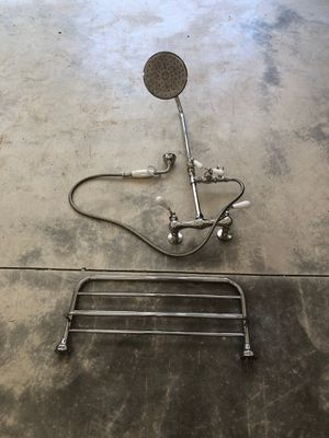 Shower faucet/ head and matching heated towel bar, light fixture, toilet paper holder for Sale in Lake Grove, OR