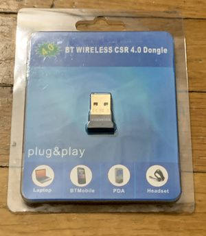 Warmstor Bluetooth Adapter, CSR 4.0 USB Dongle Bluetooth Receiver/Transfer Gold Plated for Laptop PC Computer Support Windows 10 8 7 Vista XP 32/64 B for Sale in Everett, MA