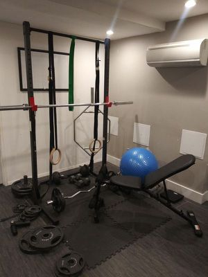 Home Gym w/ Olympic Weight set, bar, power rack, curl bar, dumbbells for Sale in Brooklyn, NY