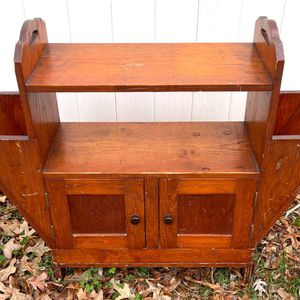 Vintage Antique Farmhouse Oak Wood Record Player Cabinet Magazine Holders Tier Shelf Entryway Console Table TV Stand for Sale in Chapel Hill, NC