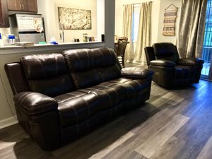 Brown Leather Electric Reclining Sofa and Recliner for Sale in Alexandria, VA