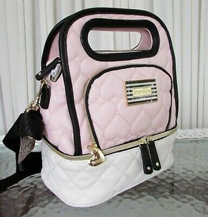 Betsey Johnson Be Mine Top Handle Lunch Tote Bag, Black & Pink for Sale in Dallas, TX