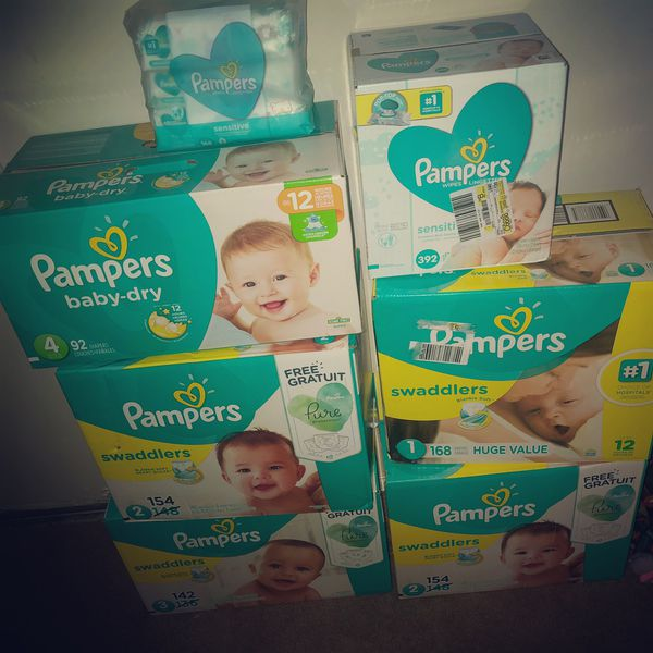 Pampers swaddlers And pampers baby dry size 1 2 3 4 and wipes