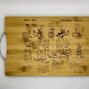 Sketch goofy laser engraved bamboo high quality cuttingboard valentines gift for Sale in Los Angeles, CA