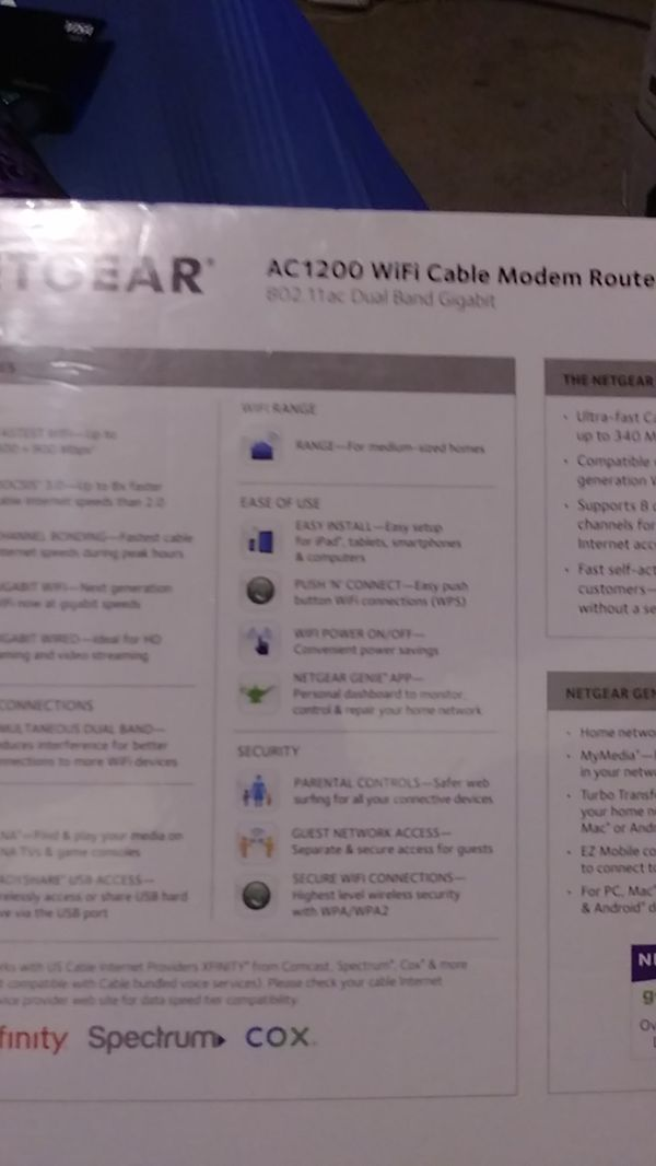 Netgear AC1200 WIFI CAVLE MODEM ROUTER