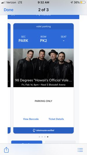 2 tix 98 Degrees Concert $300.00. Plus valet parking for Sale in Honolulu, HI