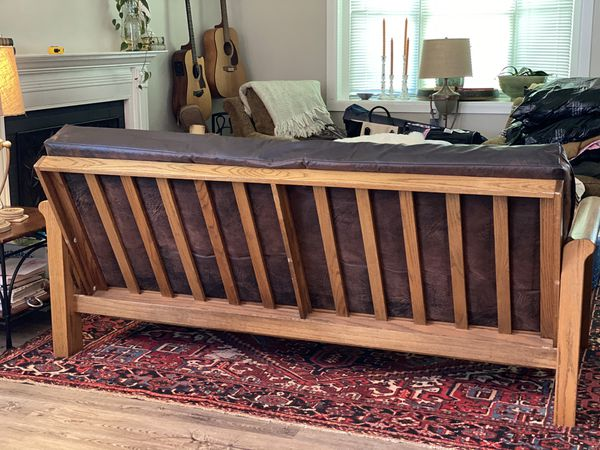 Solid Wood & Leather Futon/ Daybed