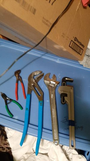 Lot of 5 pliers,adjustable wrench and more for Sale in Spout Spring, VA