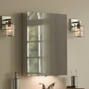 ALLEN AND ROTH 20-in x 26-in Lighted LED Surface Anodized Aluminum Mirrored Rectangle Medicine Cabinet.. Remodel Your Bathroom Today for Sale in Portland, OR