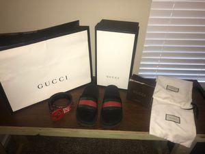Size 10 gucci slides and gucci belt for Sale in Jacksonville, FL