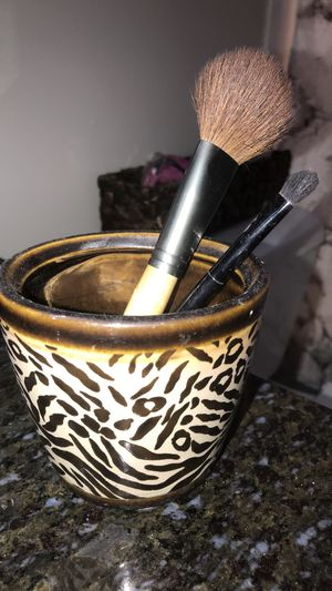 Cheetah makeup holder comes w brushes!!! for Sale in Tampa, FL