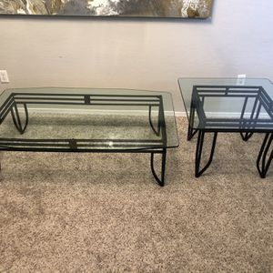Gorgeous Black Metal Coffee Table And Side Table With 1/2 inch Thick Glass Tops for Sale in Gilbert, AZ