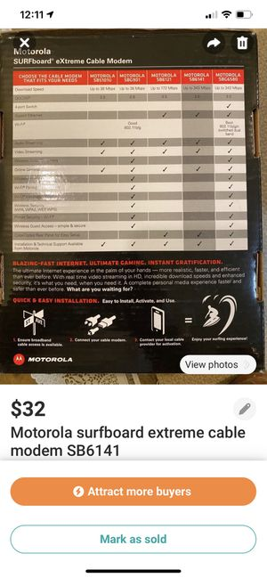 Motorola surfboard extreme cable modem SB6141 for Sale in Edison, NJ