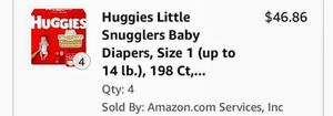 Size 1 huggies 198 diapers for $30 for Sale in Lake Worth, FL