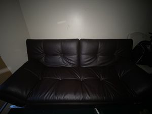 Brown Leather Futon for Sale in Columbus, OH