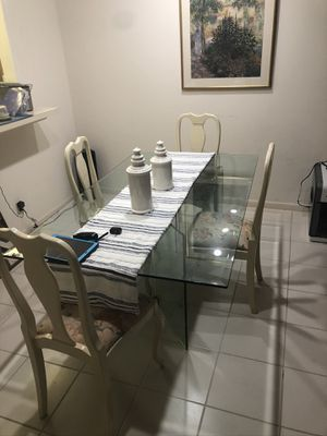 Glass kitchen table with 4 chairs ( dinner table dinette breakfast table tables chair decor accent living room furniture dining room household home g for Sale in Delray Beach, FL