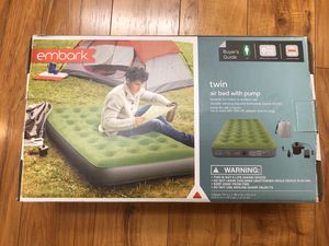 Embark Twin Air Bed Mattress with Electric Pump Standard Height This is brand new but the box has been opened. for Sale in El Cajon, CA
