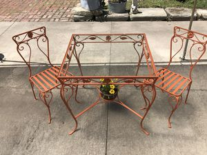 Vintage Orange Iron Table & Chairs for Sale in East Cleveland, OH
