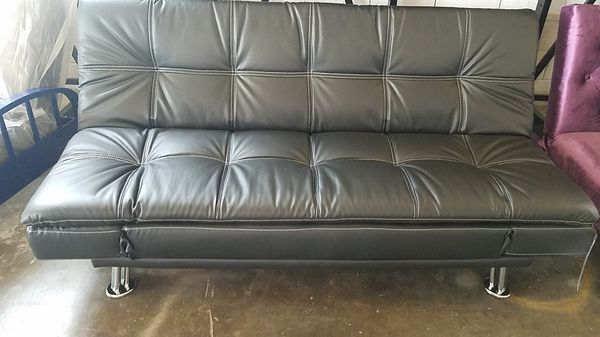 Black Leather Sofa Sleeper Futon