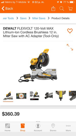 DEWALT FLEXVOLT 120-Volt MAX Lithium-Ion Cordless Brushless 12 in. Miter Saw with AC Adapter (Tool-Only) for Sale in Bakersfield, CA