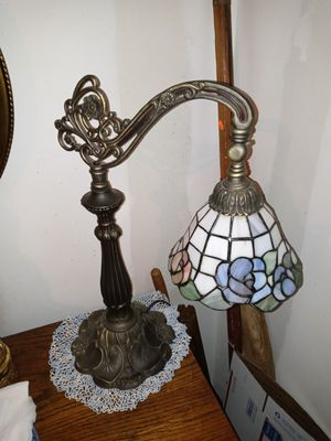 """Antique bridge arm lamp 22"""" brass stained glass slag for Sale in Clarksville, TN"""
